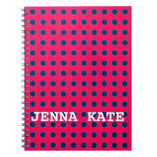 Summer Pink and Navy Blue Polka Dot Personalized Notebook