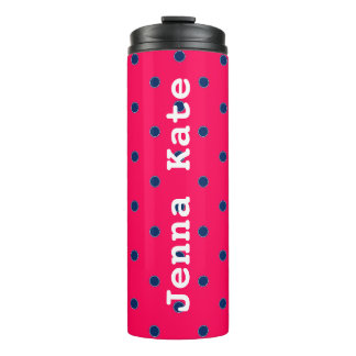 Summer Pink and Navy Blue Polka Dot Personalized Thermal Tumbler