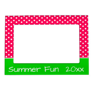Summer Pink and White Polka Dots With Green Magnetic Frame