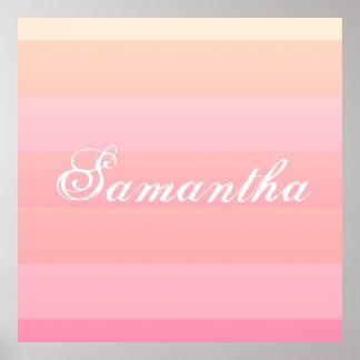 Summer Pink & Coral Gradient Color Block Monogram Poster
