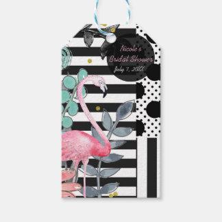 Summer Pink Flamingo Polka Dot Fun Funky Party Gift Tags