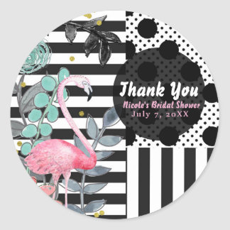 Summer Pink Flamingo Polka Dot Party Favor Fun Classic Round Sticker
