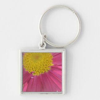 Summer Pink Flower Silver-Colored Square Key Ring