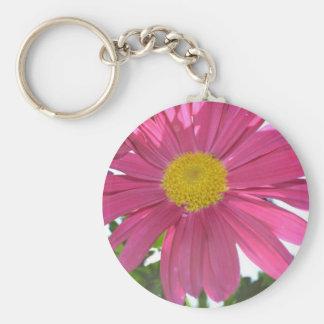 Summer Pink Flower Basic Round Button Key Ring