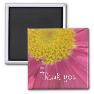Summer Pink Flower-Thank you Square Magnet