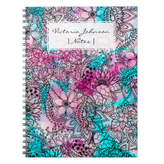 Summer pink flowers watercolor handdrawn pattern spiral notebook