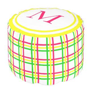 Summer Pink Green Yellow Plaid Monogram Pouf