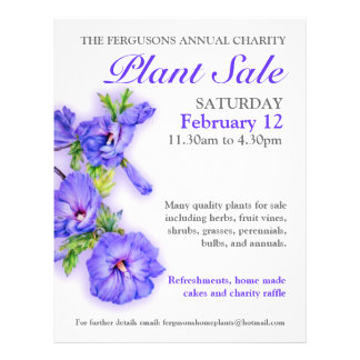 Summer plant sale hibiscus art promo flyer