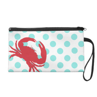 Summer Polka Dots & Crab Stylish Wristlet Clutch