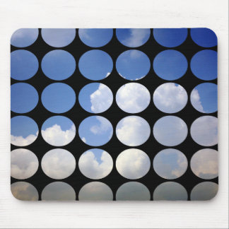 Summer Polka Dots White Clouds + Blue Skies Mousepads