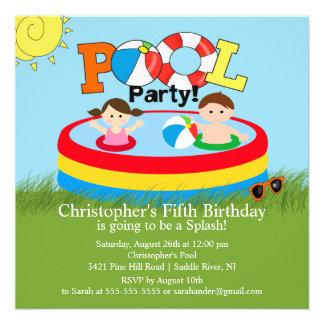 Summer POOL Party Birthday Invitation Boy Girl