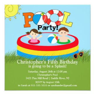 "Summer POOL Party Birthday Invitation Boy Girl 5.25"" Square Invitation Card"