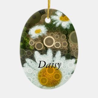 Summer Pop Art Concentric Circles Daisy Ceramic Ornament