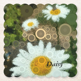 Summer Pop Art Concentric Circles Daisy Favors Paper Coaster