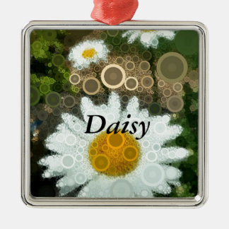 Summer Pop Art Concentric Circles Daisy Metal Ornament