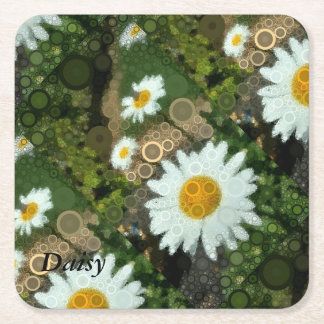 Summer Pop Art Concentric Circles Daisy Party Square Paper Coaster