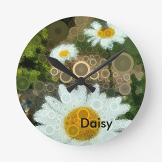 Summer Pop Art Concentric Circles Daisy Round Clock