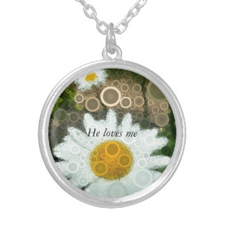 Summer Pop Art Concentric Circles Daisy Silver Plated Necklace