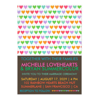 Summer Rainbow Love Hearts Wedding Photo Invite Custom Invitation