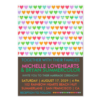 "Summer Rainbow Love Hearts Wedding Photo Invite 5"" X 7"" Invitation Card"