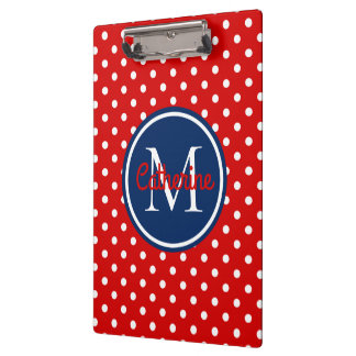 Summer Red and Navy Blue Polka Dot Monogram Clipboard