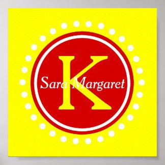 Summer Red and Sunshine Yellow Monogram Tiny Poster