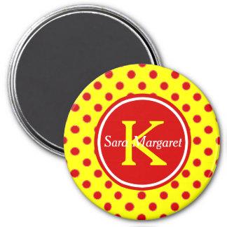Summer Red and Sunshine Yellow Polka Dot Monogram Magnet