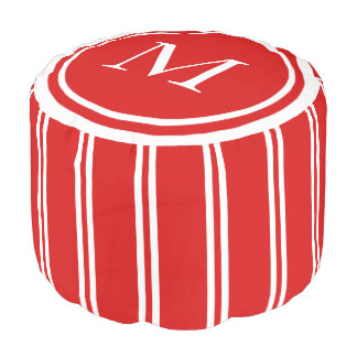 Summer Red and White Double Stripe Monogram Pouf