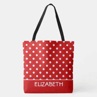 Summer Red and White Polka Dot Personalized Tote Bag