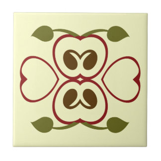 Summer Red Apple Slice Small Square Tile