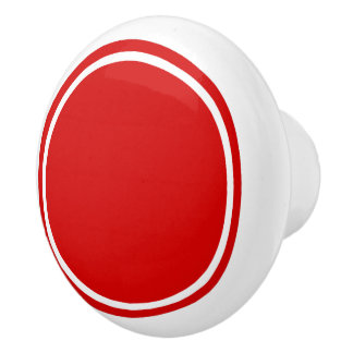 Summer Red Dot on White Ceramic Knob