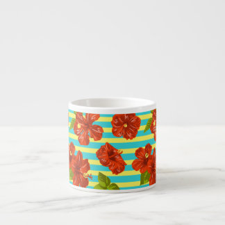 Summer Red Hibiscus Seamless Pattern Espresso Cup