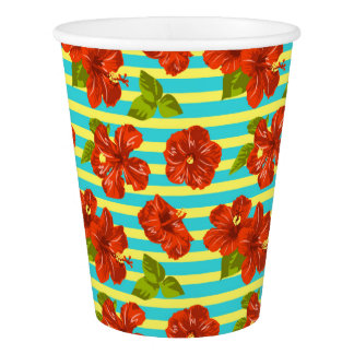Summer Red Hibiscus Seamless Pattern Paper Cup