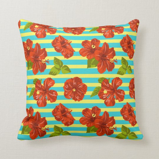 Red Hibiscus Decorative Pillow : Summer Red Hibiscus Seamless Pattern Throw Pillow Zazzle