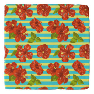 Summer Red Hibiscus Seamless Pattern Trivet