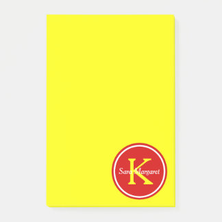 Summer Red Monogram on Sunshine Yellow Post-it Notes