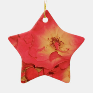 Summer Red Roses Ceramic Star Decoration