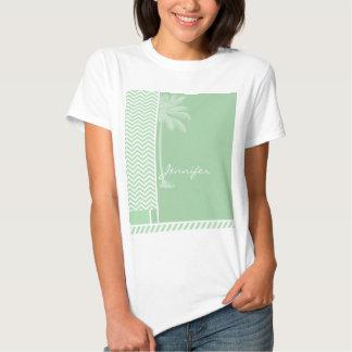 Summer Retro Celadon Chevron; zig zag Shirt
