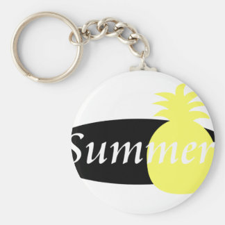 Summer Retro Pineapple Design Basic Round Button Key Ring