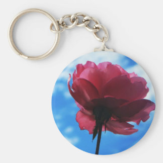 Summer Rose Basic Round Button Key Ring