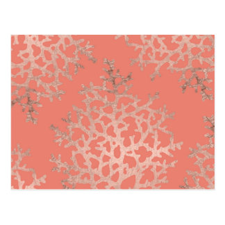 Summer rose gold coral sea pattern on salmon postcard