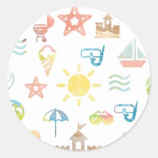 Summer Round Sticker - Classic Glossy Sticker