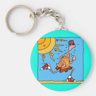 summer runner (guy) basic round button key ring