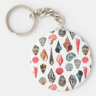 Summer Seashell Shell Nautical / Andrea Lauren Basic Round Button Key Ring