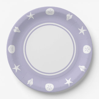 Summer Seashells in Lavender Paper Plate