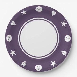 Summer Seashells in Purple Paper Plate