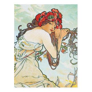 Summer Season Alphonse Mucha Fine Art Postcard