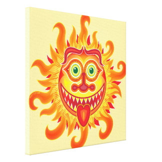 Summer shiny sun grinning and sticking tongue out canvas print