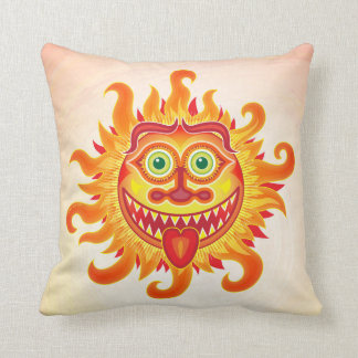 Summer shiny sun grinning and sticking tongue out cushion