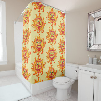 Summer shiny sun grinning and sticking tongue out shower curtain